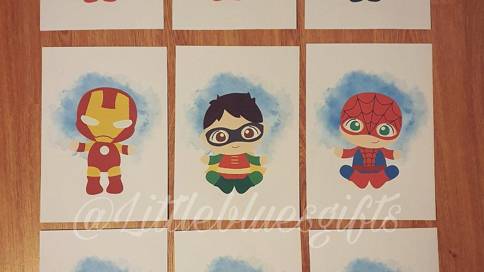 Superhero Nursery Wall Prints x 9