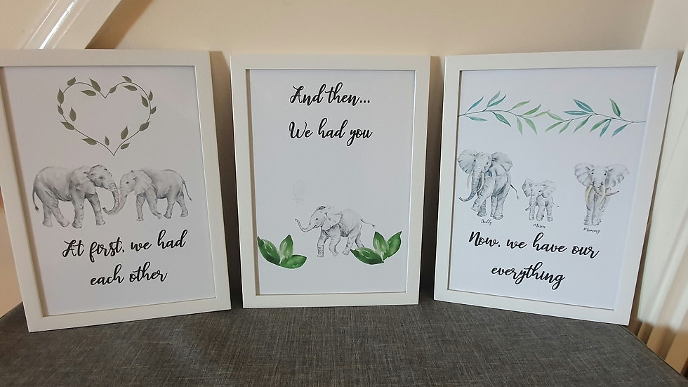 'Now we have our Everything' Elephant Quote Prints - Set of 3