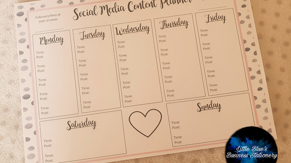 Tear Off Weekly Social Media Content Planner - Dalmation Print