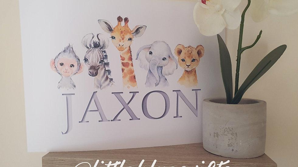 Safari Animal Name Personalised Print