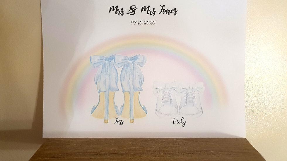 Mrs & Mrs Rainbow Wedding Shoes Personalised Print