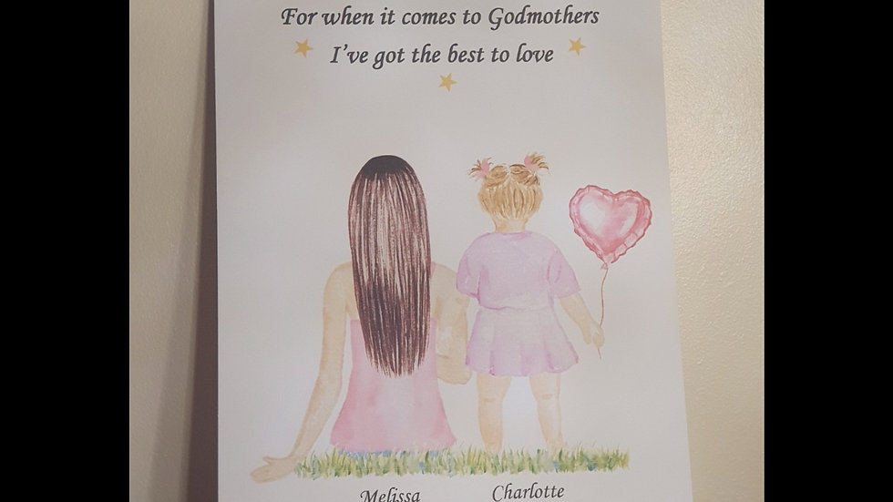 Personalised Godmother quote print