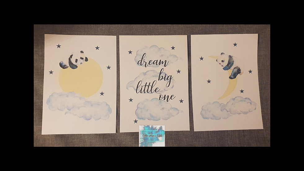 Dream Big Little One set of 3 Panda Prints