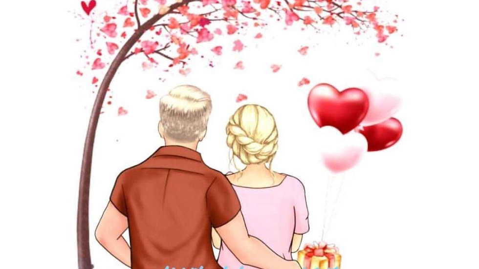 Couple with Balloons & Tree Print