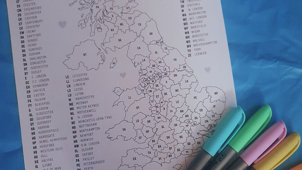 UK Sales Tracker Postcode Map with 6 Highlighters