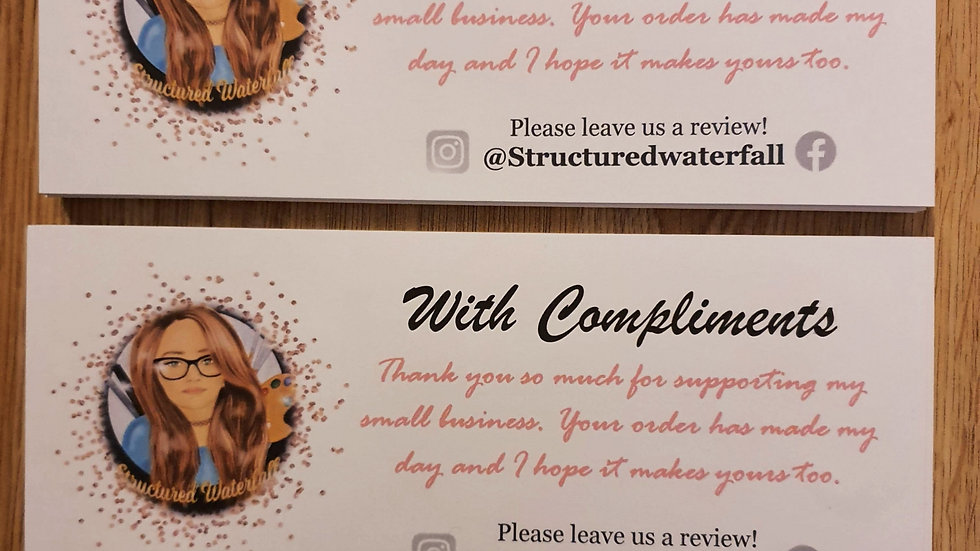 50 Personalised Card Compliment Slips