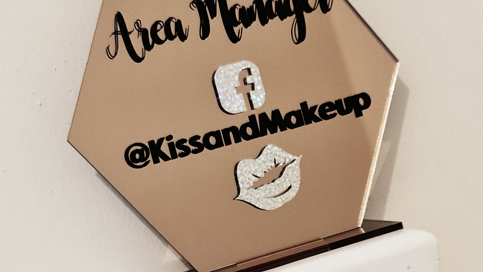 Rose Gold Mirror Acrylic Social Media Sign