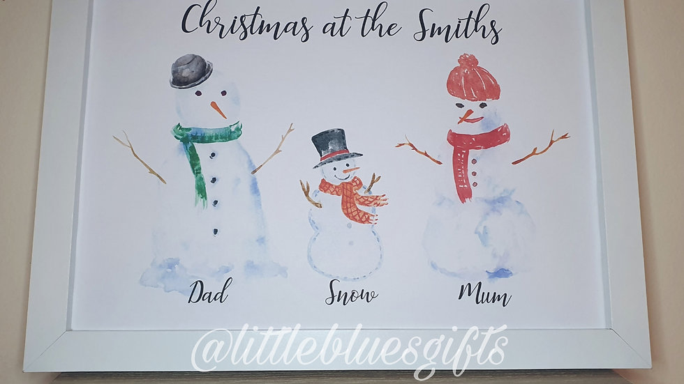 Snowman Family Personalised Print