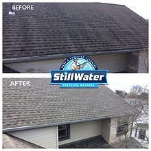 Softwash Roof Cleaning Service Stillwater Pressure Washing Columbus, Powell, Dublin, Worthington, Hilliard, Westerville, Ohio.  Algae, moss, and lichen removal from asphalt shingles.