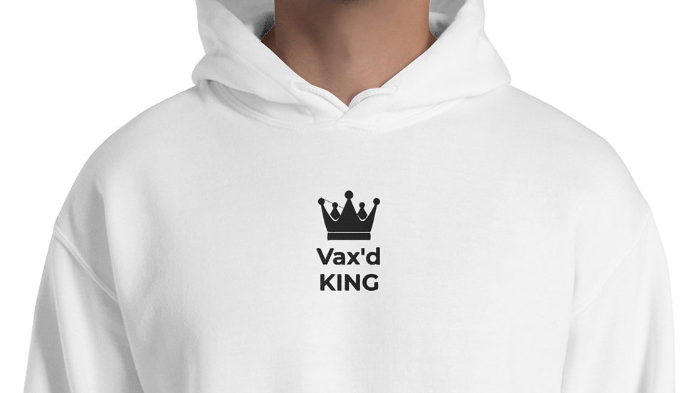 Vax'd King Embroidered - Unisex Hoodie - Black Lettering