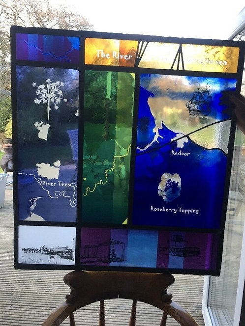 UNIQUE STAINED GLASS ETCHED PAINTED CUT PANELS RIVER TEES SOURCE TO SEA WINDOW