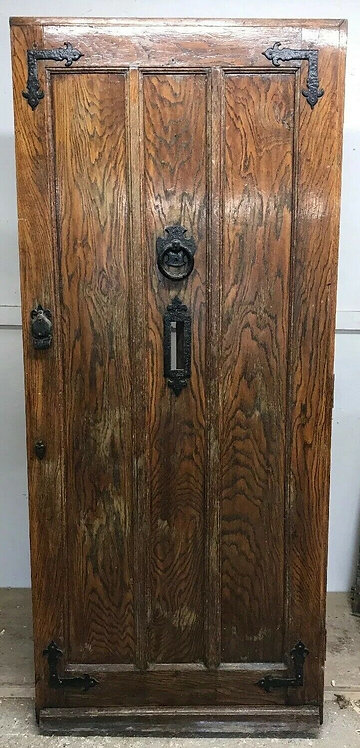 SOLID TIGER OAK FRONT DOOR ANTIQUE OLD PERIOD WOOD CAST IRON RECLAIMED WOOD 1845