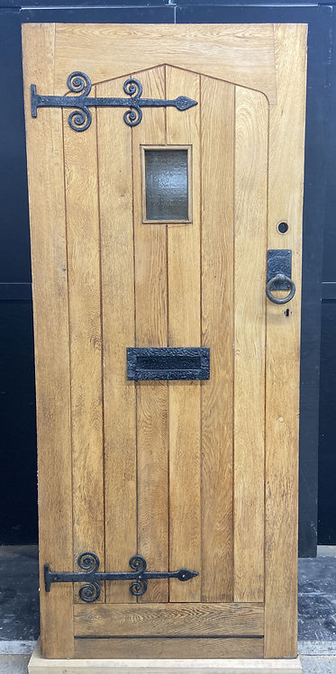 SOLID OAK FRONT DOOR OLD PERIOD WOOD ANTIQUE RECLAIMED HARDWOOD IRON GLAZED USED