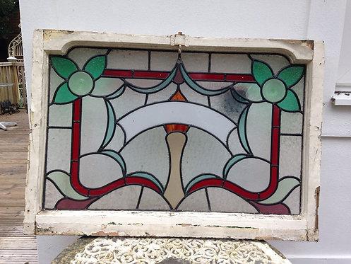 STAINED GLASS FRONT DOOR FANLIGHT OVERDOOR NAME PANEL VICTORIAN PERIOD WINDOW.
