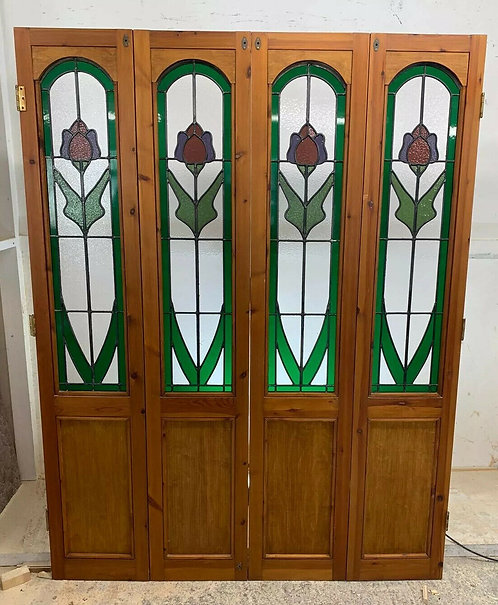 NOUVEAU SET BIFOLD STAINED GLASS DOORS ANTIQUE PERIOD RECLAIMED OLD FRENCH WOOD