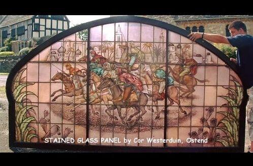 COR WESTERDUIN GLAZENIER 1901-1980 OOSTENDE LARGE STAINED GLASS WINDOW PANEL