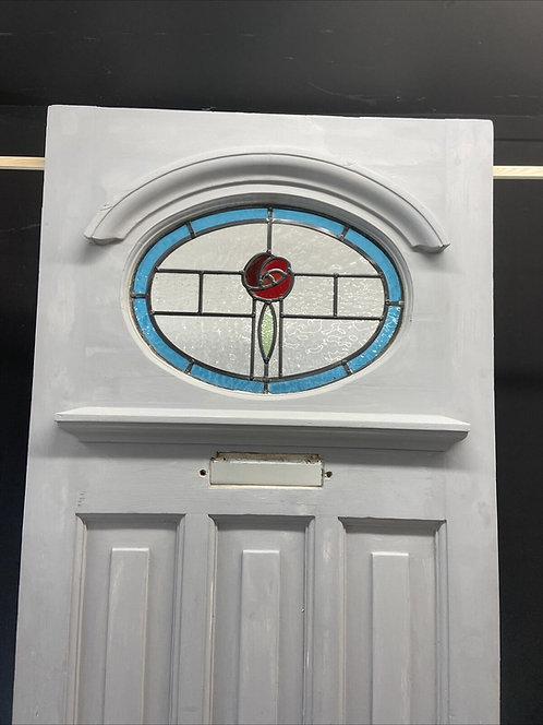 ART DECO STAINED GLASS FRONT DOOR PERIOD OLD RECLAIMED ANTIQUE PINE WOOD LEADED
