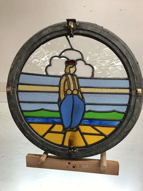 ANTIQUE PORTHOLE WINDOW OPENING STAINED GLASS BRASS PERIOD OLD RECLAIMED CRITTLE