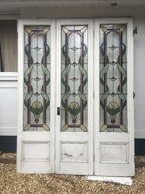 XL ART NOUVEAU BI-FOLD STAINED GLASS DOORS ANTIQUE PERIOD RECLAIMED OLD FRENCH