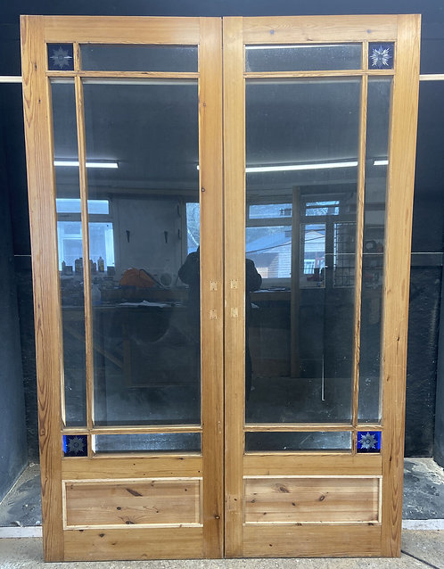 LARGE VICTORIAN FRENCH DOORS ANTIQUE PERIOD RECLAIMED OLD STAINED GLASS WOOD