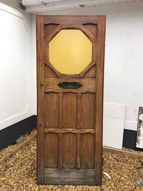 STAINED GLASS FRONT DOOR PERIOD WOOD RECLAIMED RUSTIC ANTIQUE 1900 OLD WOOD ARTS