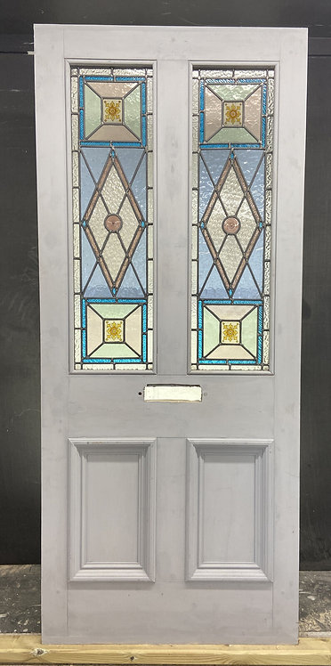 LARGE VICTORIAN STAINED GLASS FRONT DOOR RECLAIMED ANTIQUE PERIOD C1890 LEADED
