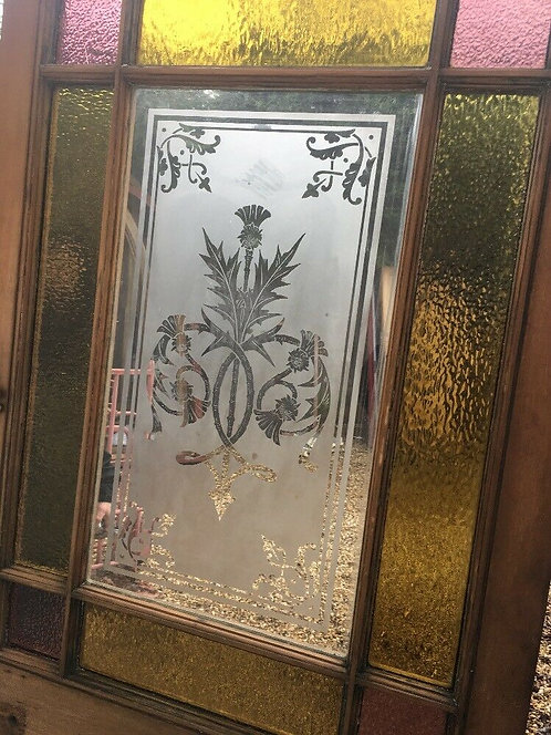 V LARGE VICTORIAN FRONT DOOR CLASSIC OLD PERIOD ETCHED STAINED GLASS RECLAIMED.