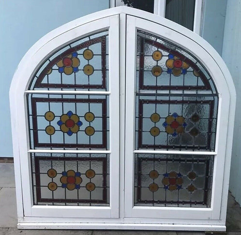 LARGE STAINED GLASS WINDOW PANEL PERIOD ARCHED BESPOKE LEADED VICTORIAN STYLE