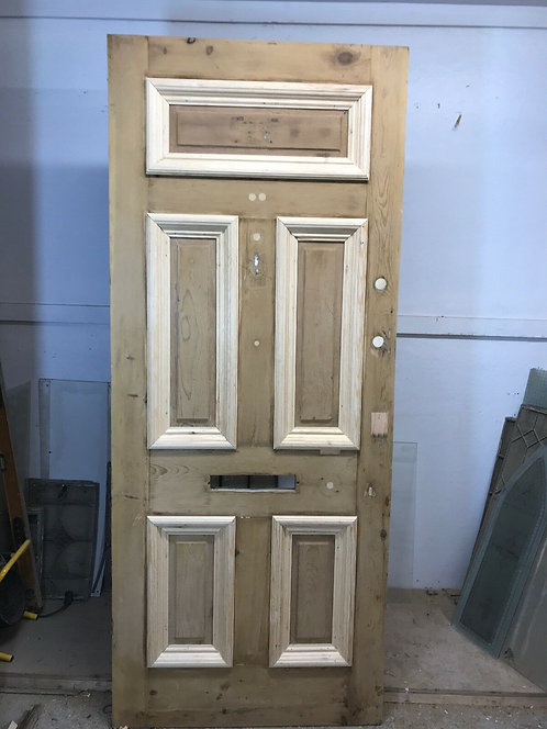 VICTORIAN FRONT DOOR ANTIQUE PERIOD RECLAIMED OLD WOOD PINE EXTERNAL REPAIRED