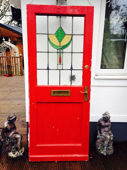 1930s FRONT DOOR RECLAIMED EDWARDIAN WOOD TIMBER STAINED GLASS ART DECO PERIOD