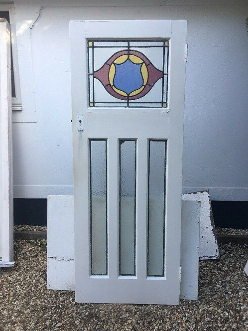 VICTORIAN STAINED FRONT DOOR PERIOD OLD RECLAIMED ANTIQUE LEAD ART NOUVEAU WOOD