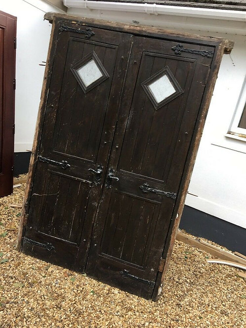 EARLY VICTORIAN DOORS FRAME ANTIQUE PERIOD RECLAIMED OLD DOUBLE C1840 PINE IRON