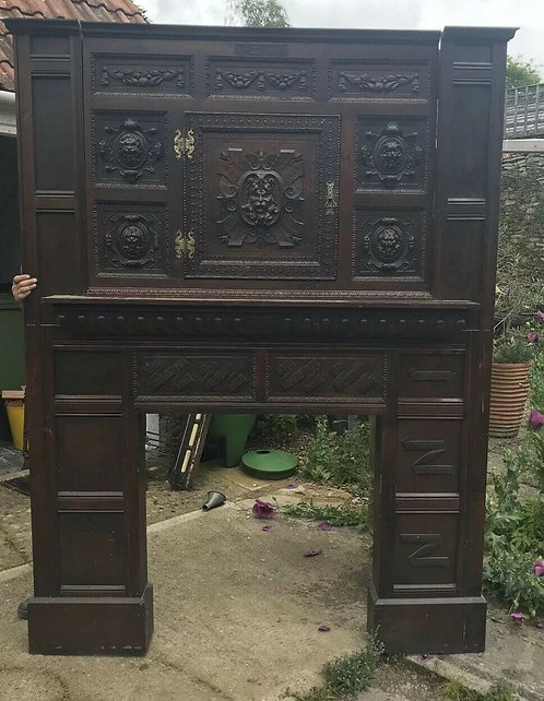 LARGE FIRE SURROUND RECLAIMED PERIOD ANTIQUE CARVED SOLID OAK CHIMNEY MANTLE OLD