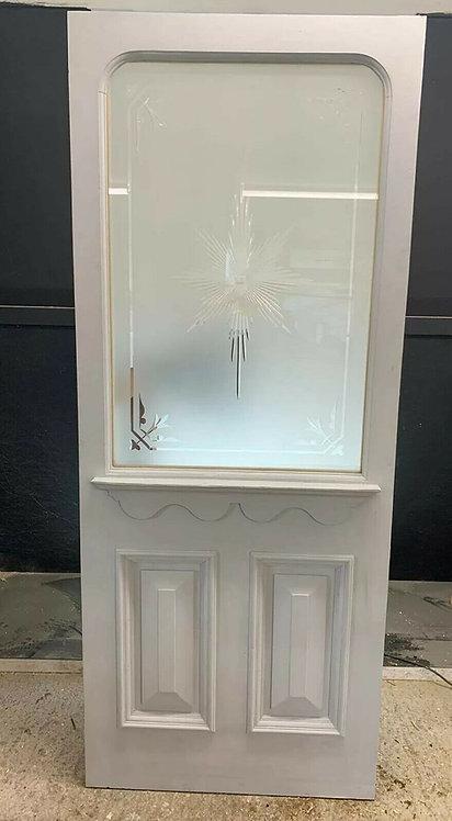 VICTORIAN FRONT DOOR PERIOD OLD RECLAIMED ANTIQUE REBUILT WOOD PINE CUT GLASS