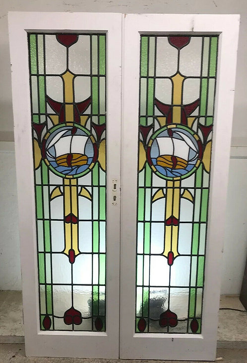 ART DECO STAINED GLASS FRENCH DOORS OLD ANTIQUE PERIOD RECLAIMED NAUTICAL SET