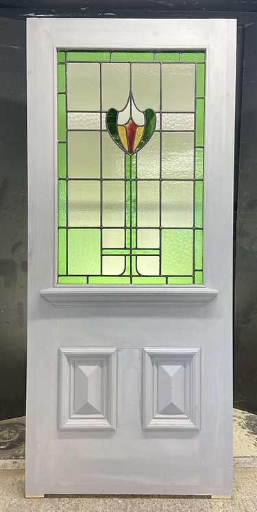 LARGE VICTORIAN STAINED GLASS FRONT DOOR RECLAIMED ANTIQUE PERIOD C1900 LEADED