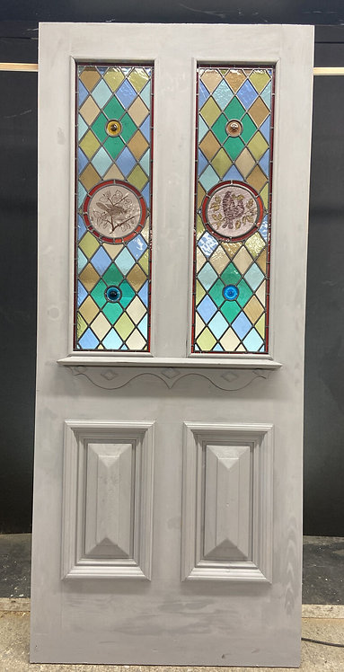 LARGE VICTORIAN HAND PAINTED STAINED GLASS FRONT DOOR OLD RECLAIMED ANTIQUE