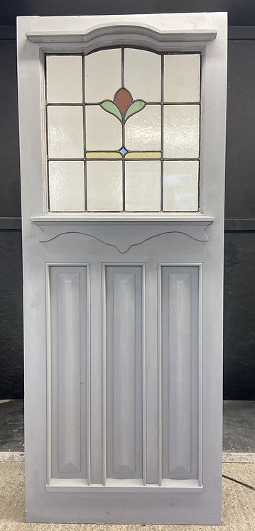 EDWARDIAN FRONT DOOR PERIOD STAINED GLASS OLD RECLAIMED ANTIQUE WOOD LEAD PRIMED