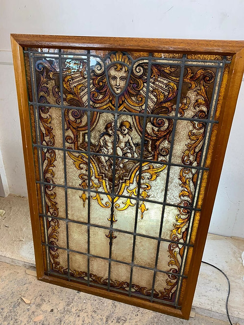 LARGE STAINED GLASS WINDOW PANEL HAND PAINTED PERIOD ANTIQUE VICTORIAN RECLAIMED