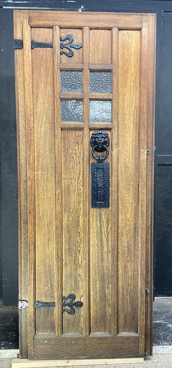 SOLID OAK FRONT MANOR DOOR ARTS CRAFTS OLD PERIOD ANTIQUE GLASS RECLAIMED WOOD
