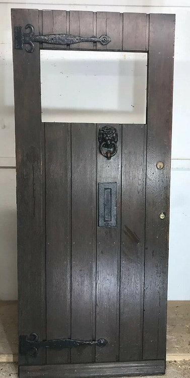 LARGE SOLID OAK FRONT DOOR ANTIQUE OLD PERIOD WOOD RECLAIMED HARDWOOD UNGLAZED
