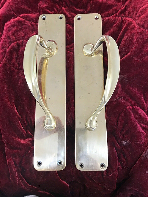 LARGE NOUVEAU DOOR HANDLES PULL PUSH PERIOD ANTIQUE OLD METAL ART RECLAIMED IRON