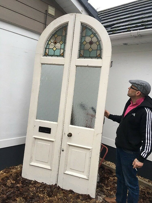 GRAND VICTORIAN STAINED GLASS SOLID OAK FRONT DOOR SET ANTIQUE PERIOD RECLAIMED