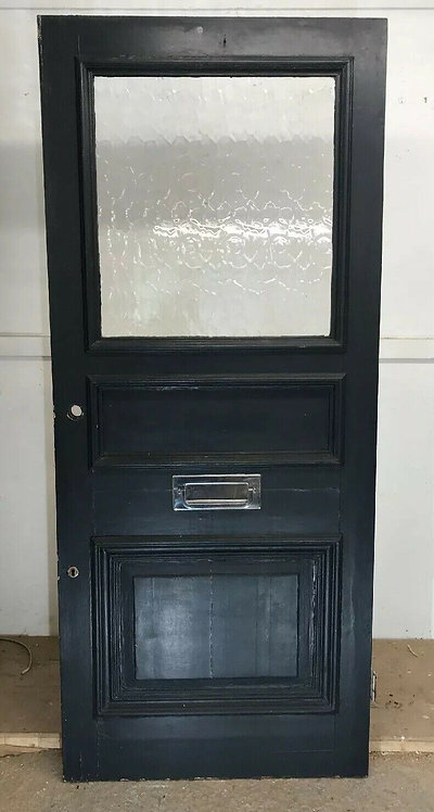 LARGE EDWARDIAN FRONT DOOR WOOD RECLAIMED OLD PERIOD ANTIQUE PINE 1903 GLAZED