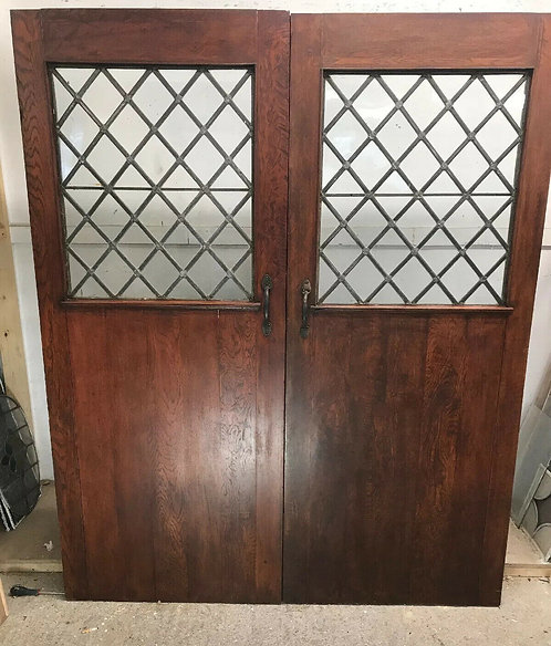 SOLID OAK DOORS SET PERIOD WOOD RECLAIMED ANTIQUE DOUBLE PAIR FRENCH VESTIBULE