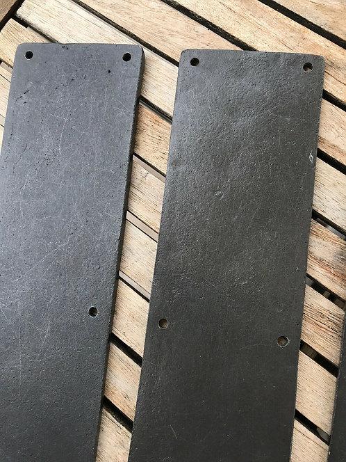 4  RESTORED ANTIQUE CAST IRON DOOR FINGER PLATES PERIOD RECLAIMED OLD METAL PUSH
