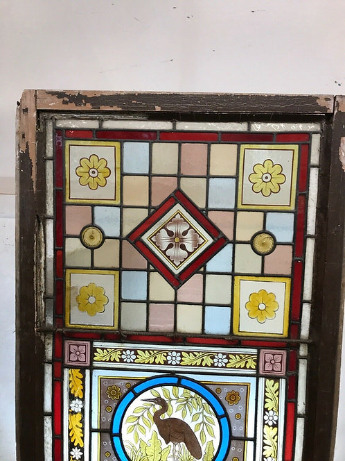 ANTIQUE VICTORIAN STAINED GLASS WINDOW HAND PAINTED OLD RECLAIMED PERIOD RARE 1
