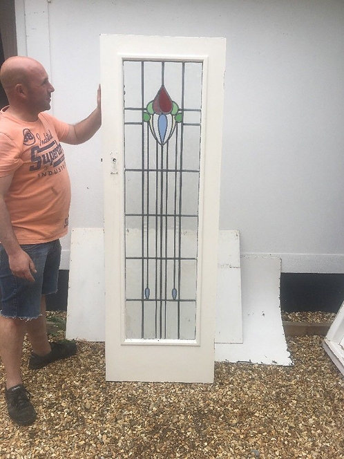 SMALL ART DECO STAINED GLASS DOOR PORCH RECLAIMED PERIOD OLD ANTIQUE LEADED