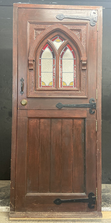 STAINED GLASS STABLE FRONT DOOR OLD PERIOD WOOD ANTIQUE RECLAIMED BESPOKE UNIQUE