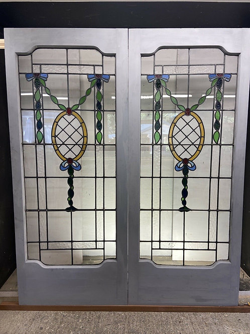 VICTORIAN EDWARDIAN STAINED GLASS FRENCH DOORS ANTIQUE PERIOD RECLAIMED OLD WOOD